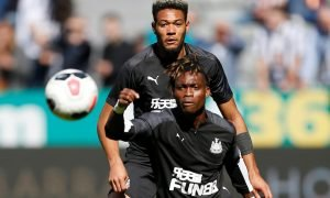 Newcastle United's Joelinton and Christian Atsu during the warm up before the match