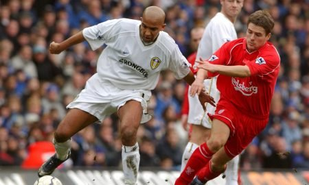 Olivier Dacourt of Leeds United in action against Michael Owen of Liverpool, Premier League Feb 2002