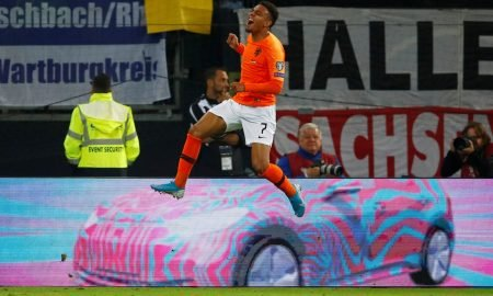 PSV and Netherlands' Donyell Malen celebrates scoring their third goal v Germany, Sep 2019