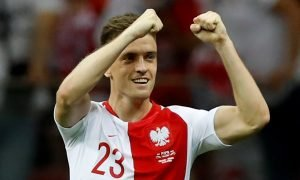 Poland's Krzysztof Piatek celebrates scoring their first goal v Israel - Euro 2020 Qualifier