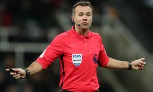 Referee Paul Tierney gestures during the Newcastle United v Manchester City match Jan 2019