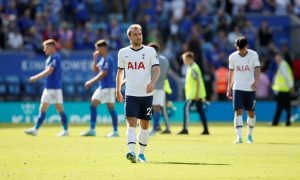 Tottenham Hotspur's Christian Eriksen reacts after the Leicester match