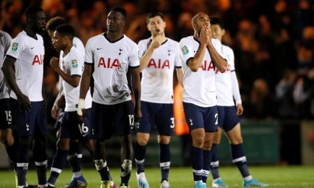 Tottenham Hotspur's Lucas Moura and teammates react after losing the penalty shootout - Carabao Cup - Third Round - Colchester United