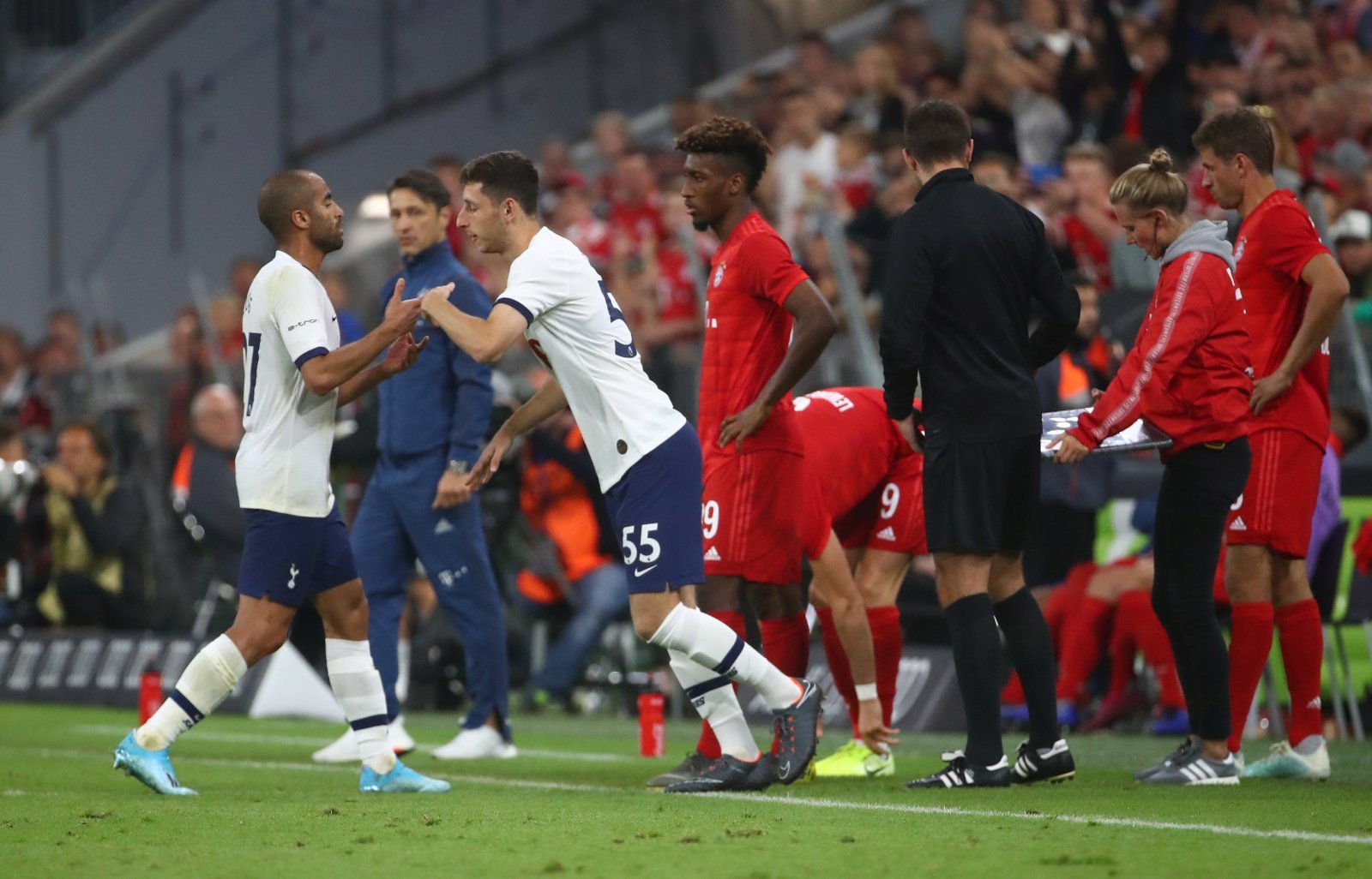 Tottenham's Jack Roles comes on as a substitute to replace Lucas Moura, Audi Cup v Bayern Munich, July 2019