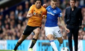 Wolverhampton Wanderers' Raul Jimenez in action with Everton's Lucas Digne