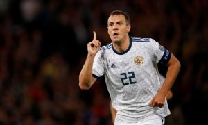 Zenit St. Petersburg's Artem Dzyuba celebrates scoring Russia's first goal v Scotland, Euro 2020 Qualifier, Sep 2019
