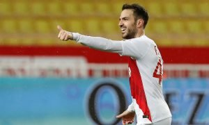 AS Monaco's Cesc Fabregas celebrates scoring their second goal v Toulouse