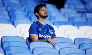 An Everton fan looks dejected after the Sheffield United match