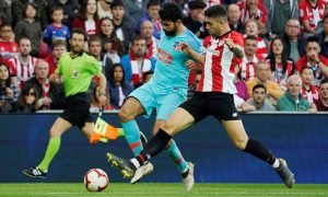 Atletico Madrid's Diego Costa in action with Athletic Bilbao's Unai Nunez