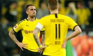 Borussia Dortmund's Paco Alcacer reacts after the Werder Bremen match