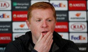 Celtic manager Neil Lennon during the press conference ahead of Europa League clash with CFR Cluj