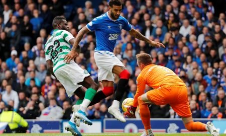 Celtic's Odsonne Edouard in action with Rangers' Connor Goldson and Allan McGregor