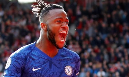 Chelsea's Michy Batshuayi celebrates scoring their fourth goal v Southampton, Oct 2019