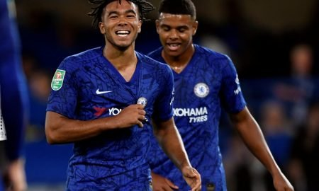 Chelsea's Reece James celebrates scoring their fifth goal v Grimsby Town, Carabao Cup - Third Round, Sep 2019