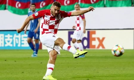Croatia's Nikola Vlasic shoots at goal v Azerbaijan
