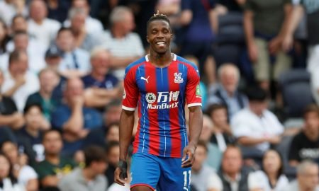 Crystal Palace's Wilfried Zaha reacts v Tottenham Hotspur