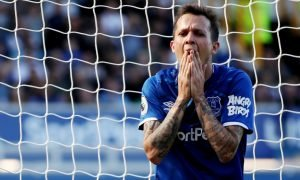Everton's Bernard reacts after a missed chance v Sheffield United