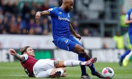 Everton's Fabian Delph in action with Burnley's Jeff Hendrick