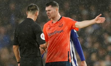 Everton's Michael Keane remonstrates with referee Andrew Madley at the end of the Brighton & Hove Albion match