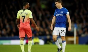 Everton's Seamus Coleman speaks with Manchester City's Raheem Sterling