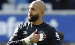 Everton's Tim Howard during the lap of honour at the end of the Norwich City match, May 2016