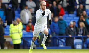 Everton's Tom Davies during the warm up before the West Ham United match