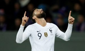 France's Olivier Giroud celebrates scoring the winning goal v Iceland, Euro 2020 Qualifier, Oct 2019