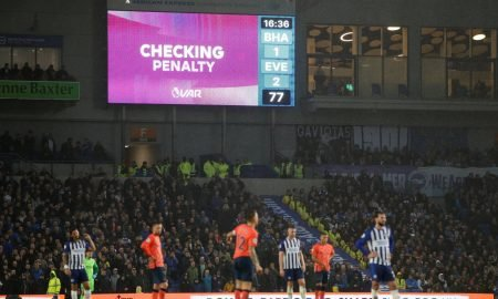 General view at the Amex Stadium as the scoreboard displays the pending VAR decision before awarding Brighton & Hove Albion a penalty v Everton