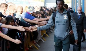 Leeds United's Eddie Nketiah arriving at the stadium before the Derby County match