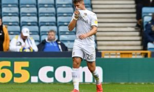 Leeds United's Gaetano Berardi leaves the pitch after being sent off at Millwall