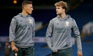 Leeds United's Patrick Bamford and Ben White inside the stadium before the West Bromwich Albion match