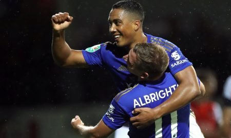 Leicester City's Youri Tielemans celebrates scoring their third goal v Leicester City with teammate Marc Albrighton in Carabao Cup - Third Round