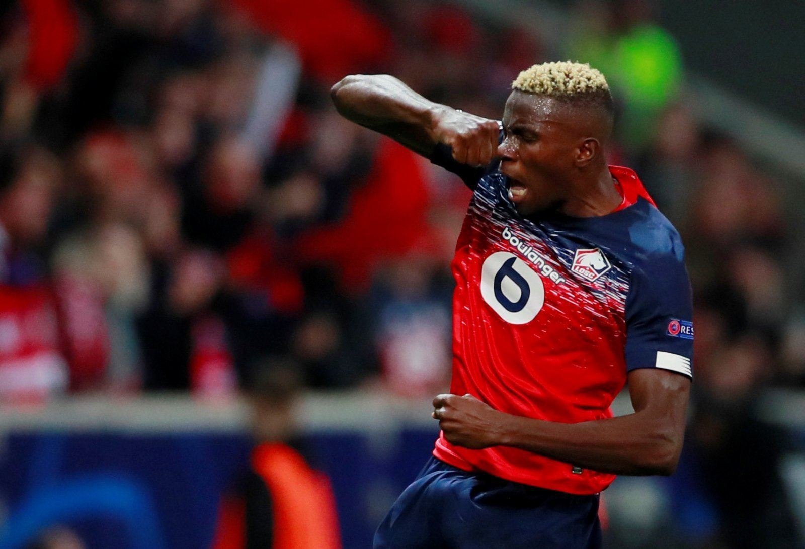 Lille's Victor Osimhen celebrates scoring their first goal v Chelsea - Champions League - Group H
