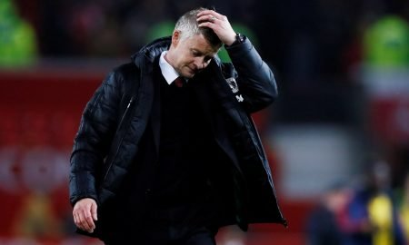 Manchester United manager Ole Gunnar Solskjaer reacts at the end of the Arsenal match