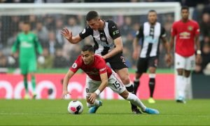 Manchester United's Andreas Pereira in action with Newcastle United's Ciaran Clark