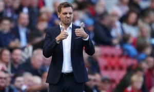 Middlesbrough manager Jonathan Woodgate reacts v Reading