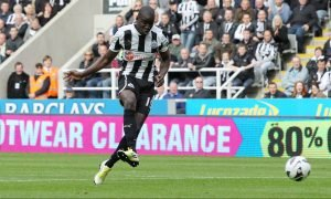 Newcastle United's Demba Ba scoring v Norwich City