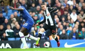 Newcastle United's Miguel Almiron in action with Chelsea's Kurt Zouma