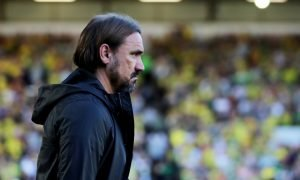 Norwich City manager Daniel Farke looks on v Burnley