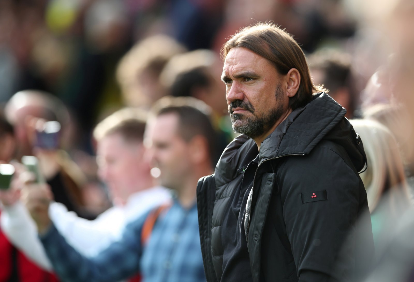 Norwich City manager Daniel Farke reacts as Aston Villa's Conor Hourihane scores