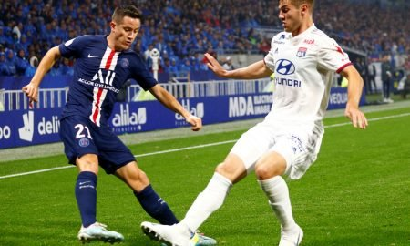 Paris St Germain's Ander Herrera in action with Olympique Lyonnais' Joachim Andersen