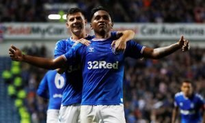 Rangers' Alfredo Morelos celebrates scoring their first goal - Europa League - Play-Offs - Second Leg v Legia Warsaw