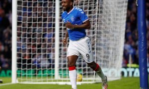 Rangers' Jermain Defoe celebrates scoring their fifth goal v St Joseph's