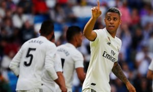Real Madrid's Mariano Diaz celebrates scoring their third goal v Villarreal