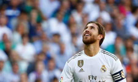Real Madrid's Sergio Ramos reacts v Granada