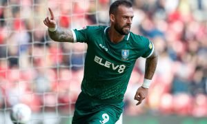 Sheffield Wednesday's Steven Fletcher celebrates scoring their fourth goal v Middlesbrough