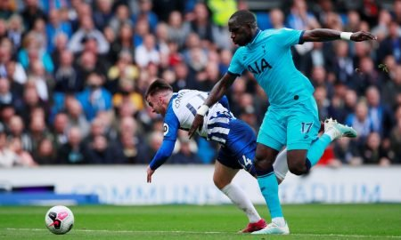 Tottenham Hotspur's Moussa Sissoko in action with Brighton and Hove Albion's Aaron Connolly