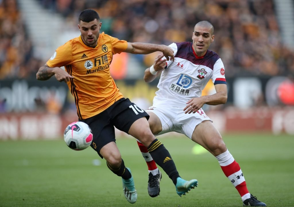 Wolverhampton Wanderers' Patrick Cutrone in action with Southampton's Oriol Romeu