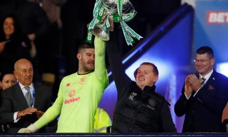 Forster and Lennon celebrate League Cup victory